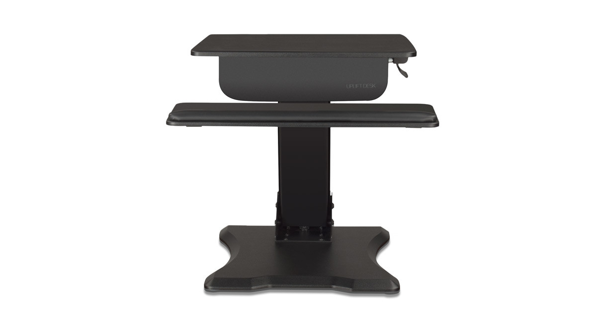 pneumatic adjustment on the standing desk converter requires no electrical outlet - Standing Desk Converter