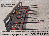 """Skid Steer Brush Rake & Hay Bale Mover 7-48"""" Spears 8' Wide Frame Spears are easily removable to convert from brush rake or manure fork to a hay bale mover 3 spear lengths available 33, 39, and 48"""""""