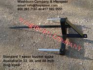 "Hay Bale Mover Front Mount Bucket Bale 1 Spear, 48"" Long, hay bale fork for bucket, hay bale spear loader, hay bale bucket spear loader, hay bale spear for bucket, hay bale fork, round bale spear"