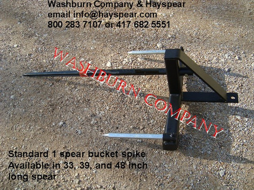 "Hay Bale Stacker Bucket 1 Spear, 39"" Long 1 5/8"" Dia, hay bale fork, hay bale spear loader, front loader hay spear, tractor hay fork, hay bale, quick attach hay spear, hay bale mover  mc"