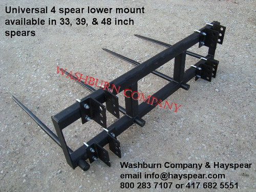"""Hay Bale Mover 3 Point or Front Loader 4 Spear 48"""", 6' Frame Universal Hay Bale Mover 3 Point 4 Spear 48"""",  6' Frame, 3 point hay bale spear, 3 point bale mover, tractor loader hay mover, 3-point hay spear, carries 2 bales at a time"""