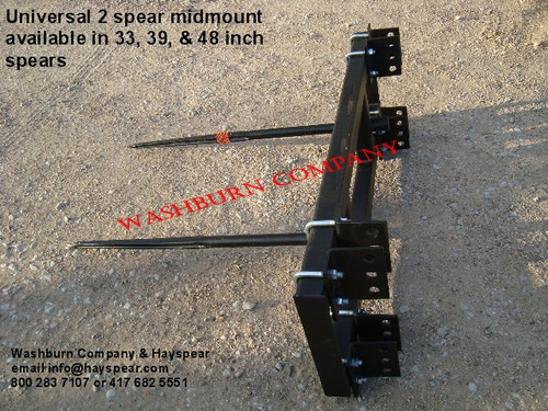"Hay Bale Stacker Universal 3 Point 2 Spear w/ 48"" Spears, 3 point hay bale spear loader, hay bale spear for implement, hay bale fork, round bale spear  mc"
