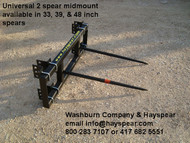 "Hay Bale Stabber Universal 3 Point 2 Spear w/ 39"" Spears, 3 point hay bale spear, 3 point bale mover, tractor 3 point attachments, 3-point hay spear, 3 point fork, 3 point bale spear, 3 pt bale spear  mc"