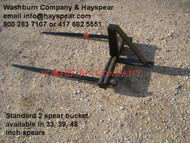 "Hay Bale Mover Stacker Bucket Mounted 2 Spear w/ 48"" Spears Each hay bale spear is rated at 3000"" @ 30"" load center"