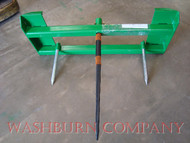 "hay bale spear loader, hay bale spear for implement, hay bale fork, round bale spear, hay spear for jd 200x, 200cx, 300, 300cx, 300x, 400, 400x, 400cx, 410, 420, 430, 440, 460 500, hay spikes, skidsteer bale spear .  Individual hay spears or hay spikes are rated at 3000 lbs. at 30"" load center"