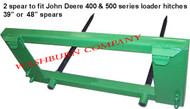 "Hay Bale Mover John Deere 200-500, 2 Spear 39"" Long Spikes . hay bale fork, round bale spear, hay spear for jd hay spear for john deere 200 200x, 200cx, 300, 300cx, 300x, 400, 400x, 400cx, 410, 420, 430, 440, 460  500, hay spikes, skidsteer bale spear, round bale spear for john deere  mc"