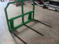 "hay bale spear loader, hay bale spear for implement, hay bale fork, round bale spear, hay spear for jd hay spear for john deere 200 200x, 200cx, 300, 300cx, 300x, 400, 400x, 400cx, 410, 420, 430, 440, 460  500, hay spikes,  Individual hay spears or hay spikes are rated at 3000 lbs. at 30"" load center"