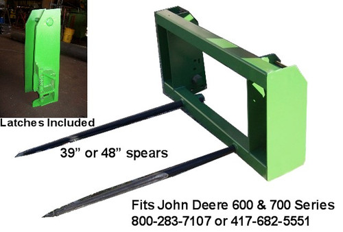 "Hay Bale Stacker John Deere 600-700 2 Spear, 48"" Long Spears, hay bale spear loader, hay bale spear for implement, hay bale fork, round bale spear, hay spear for jd 600, hay spikes, mc"