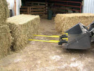 Bucket spike hay mover 2 Spears, Clamps to existing bucket.