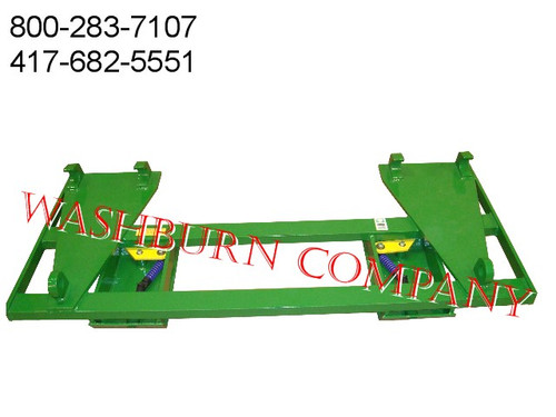 "John Deere Euro Global H480 Loader To Fit Skid Steer Attachments  Two crossbar design keeps the face of thee latch boxes in line and keeps them from twisting and going out of alignment. Latch box sides are 1/2"" thick and are made from grade 50 plate for added strength. The latching pins are designed so that when the latches are closed the springs are bottomed out so that the pins cannot come unlatched. Bushing for pins Grease Zerk in both latching pin tubes Couples the two different Quick hitches as close as is physically possible for maintaining maximum lifting capacity. Quick attach adapters are also available for tractor loaders with pin on buckets to convert them to quick attach."