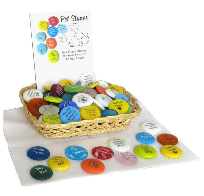Pet Stone Assortment of Frosted Glass Sea Stones, 100 stones with sayings for pet parents. By Lifeforce Glass, Inc.