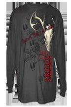 Primos Deer Skull Long Sleeve T Shirt Charcoal Large