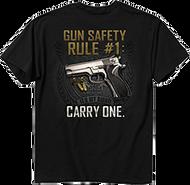 Buck Wear Gun Safety Rule Black Short Sleeve T-Shirt Xlarge