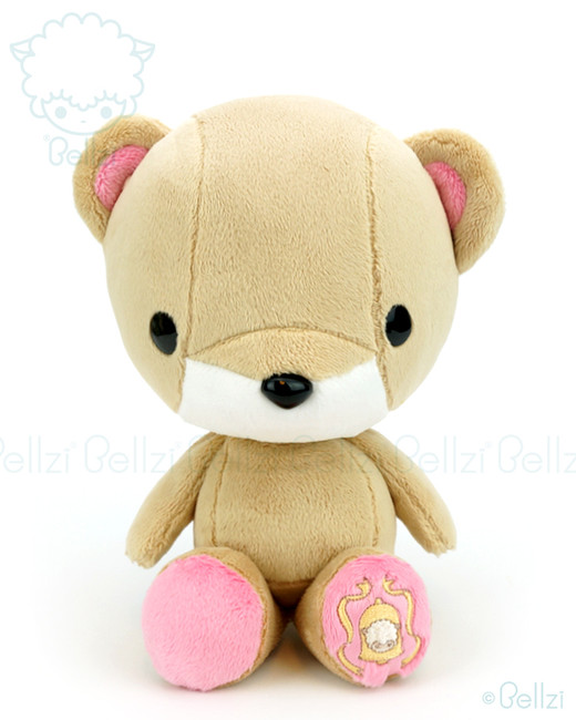 Bellzi® Cute Brown with Pink Bear Stuffed Animal Plush Toy - Teddi