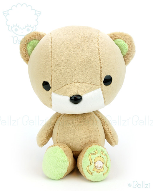 Bellzi® Cute Brown with Lime Green Bear Stuffed Animal Plush Toy - Teddi