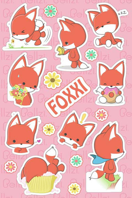 Bellzi® Cute Foxxi the Orange Fox Vinyl Sticker