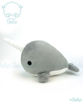 Bellzi® Cute Gray Narwhal Stuffed Animal Plush Toy - Narrzi