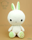 Bunny Rabbit Stuffed Animal Plush Toy - White with Lime Green