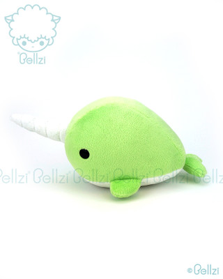 Bellzi® Cute Lime Green Narwhal Stuffed Animal Plush Toy - Narrzi