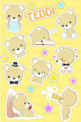 Bellzi® Cute Teddi the Brown Teddy Bear Vinyl Sticker