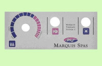 650-0014, Marquis Spas Baker Hydro, 1 Pump System Topside Panel Overlay