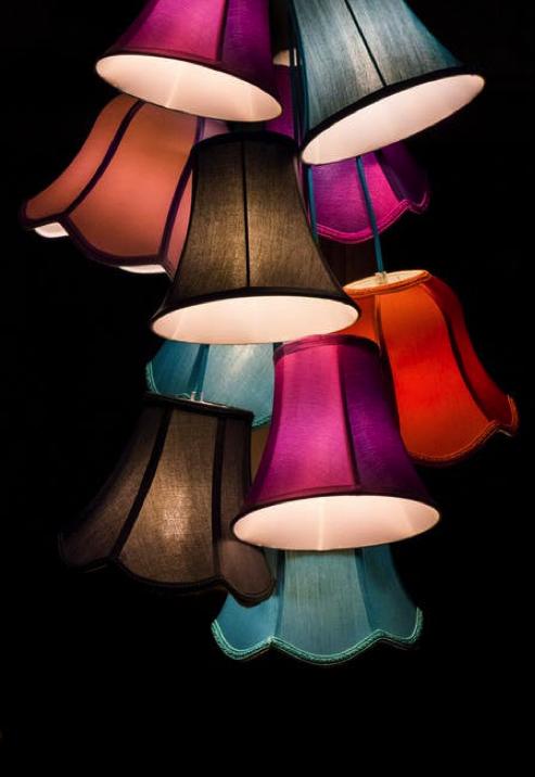 Colored lamp shades, purple, blue- Cocoweb