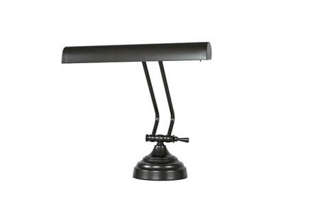 "Front View of 12"" (DLED12ORBD) LED Piano Desk Lamp- Oil Rubbed Bronze"