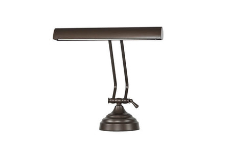 "Front View of 12"" Mahogany Bronze Dimmable Piano Desk Lamp"