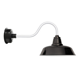 "14"" Black Shade & Base with Contemporary White LED Barn Light"