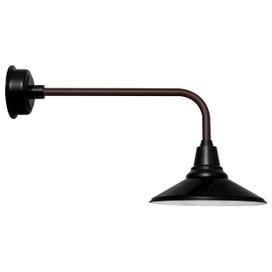 Traditional Calla 18 Inch Black LED Barn Light With Mahogany Bronze Gooseneck