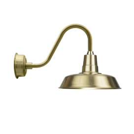"14"" Solid Brass with Rustic Gooseneck Arm LED Barn Light"