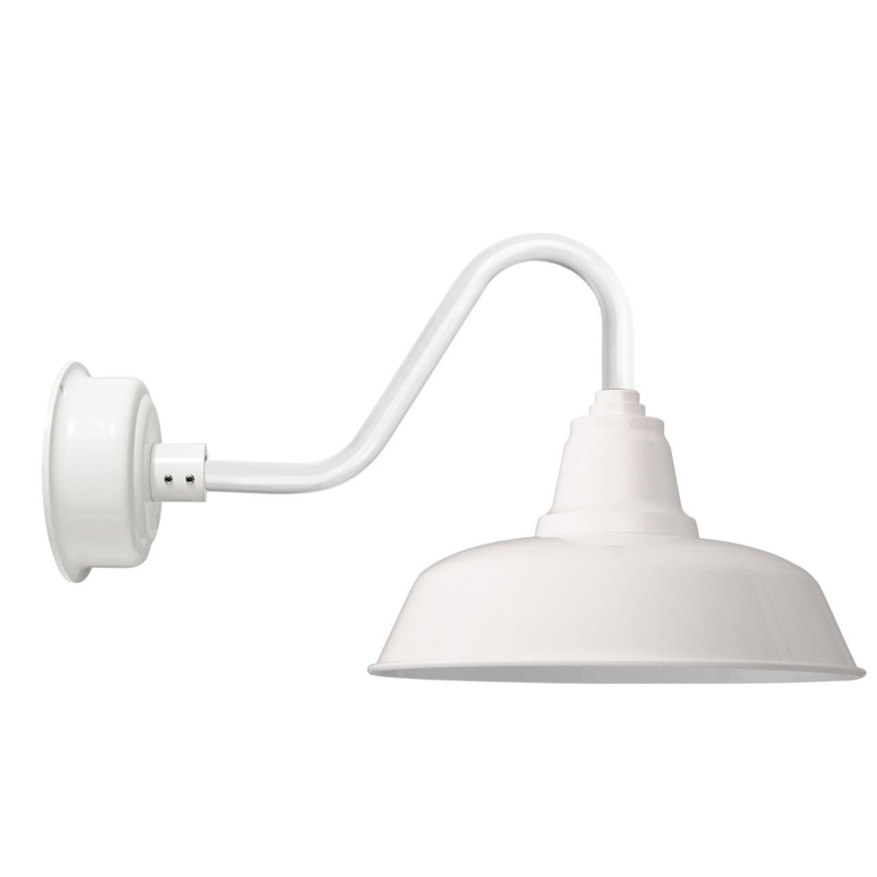 "Goodyear 1 Light Outdoor Barn Light: Vintage 14"" White Goodyear Indoor/Outdoor LED Barn Lights"