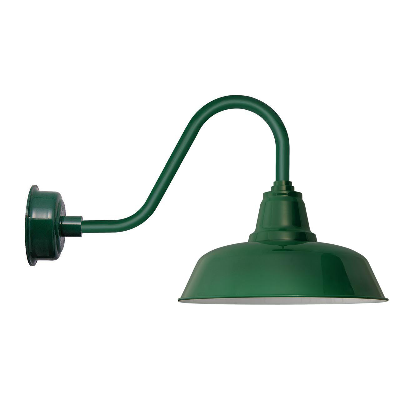 "Goodyear 1 Light Outdoor Barn Light: Goodyear Rustic Vintage Green 14"" Indoor/Outdoor LED Barn"