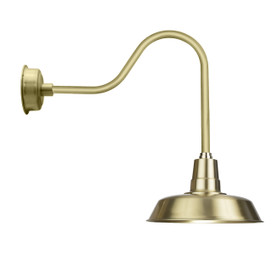 "16"" Oldage Solid Brass with Sleek Gooseneck Arm LED Barn Light"