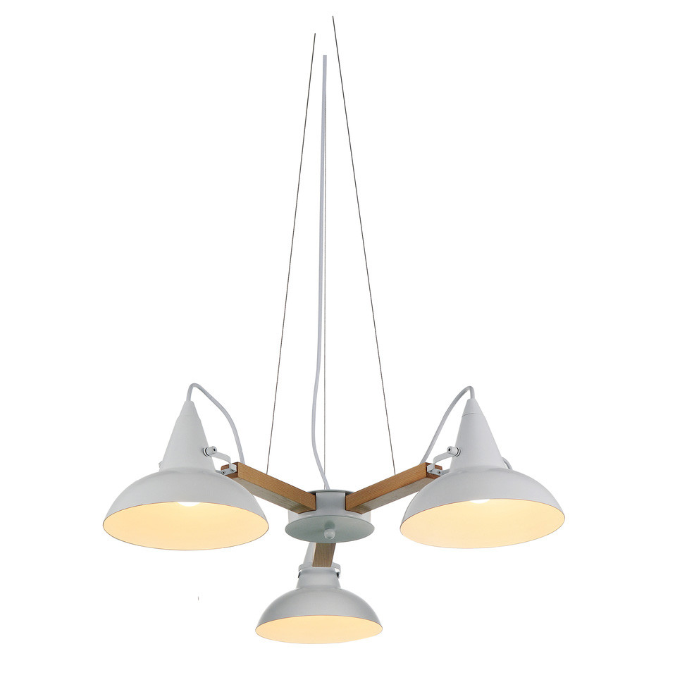 Amatrice 3 light led chandelier in white cocoweb three wires surround the main cord of this fixture to hold the amatrice in place exposed cords decorate the tops of each of the three light shades aloadofball Choice Image