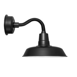 "12"" Oldage LED Sconce Light with Chic Arm in Matte Black"