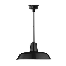 "16"" Oldage LED Pendant Light in Black with Black Downrod"