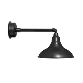 "12"" Dahlia LED Barn Light with Metropolian Arm in Matte Black"