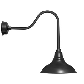 "12"" Dahlia LED Barn Light with Sleek Arm in Matte Black"