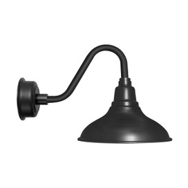 "12"" Dahlia LED Barn Light with Vintage Arm in Matte Black"