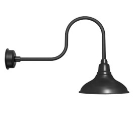 "12"" Dahlia LED Barn Light with Industrial Arm in Matte Black"