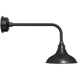 "12"" Dahlia LED Barn Light with Traditional Arm in Matte Black"