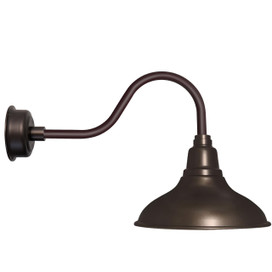 "12"" Dahlia LED Barn Light with Contemporary Arm in Mahogany Bronze"