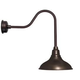 "12"" Dahlia LED Barn Light with Sleek Arm in Mahogany Bronze"