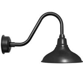"8"" Dahlia LED Barn Light with Rustic Arm in Matte Black"