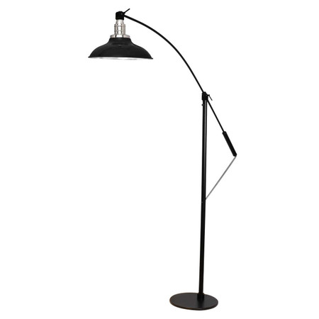 "Front View of 10"" Peony Adjustable LED Industrial Floor Lamp- Black"