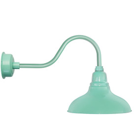 "8"" Dahlia LED Barn Light with Contemporary Arm in Jade"