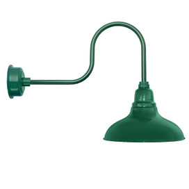 "8"" Dahlia LED Barn Light with Industrial Arm in Vintage Green"