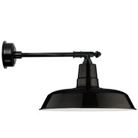 "14"" Oldage LED Barn Light with Victorian Arm - Black"