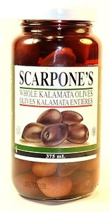 Whole Kalamata Olives 375 ml - SCARPONE'S